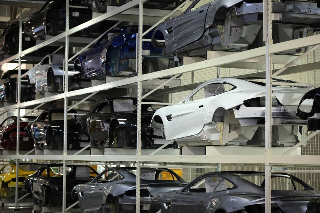 Aston Martin body shells wait to go on the assembly line at the company headquarters and production plant in Gaydon, England.