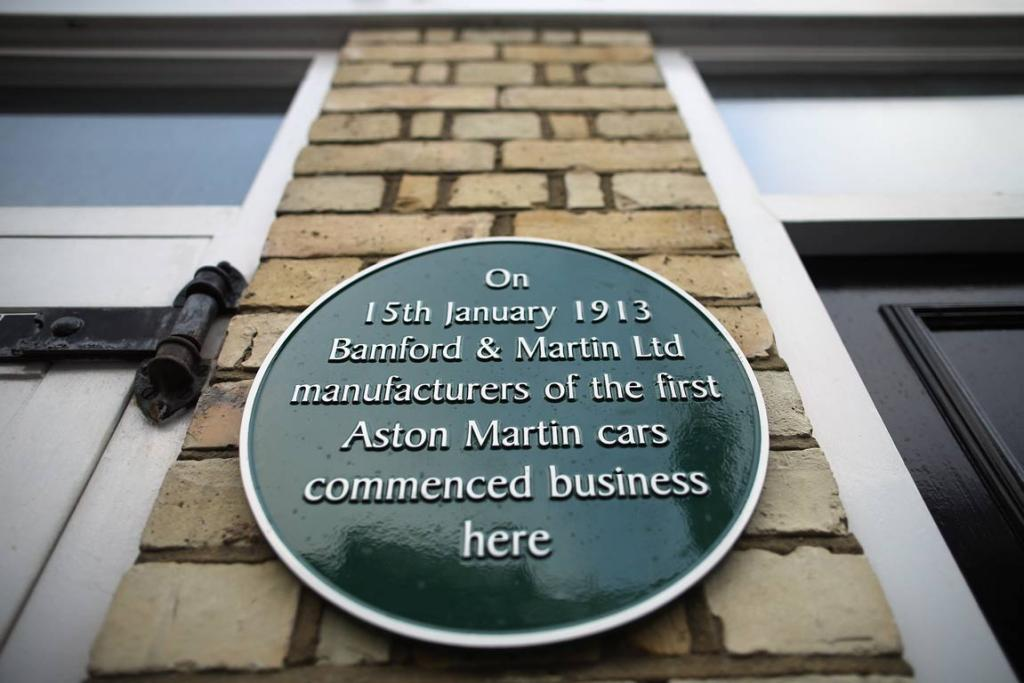 A newly unveiled plaque marks the original home where Aston Martin cars were first manufactured in 1913 by Bamford & Martin Ltd, on January 15, 2013 in Brompton, central London, England.