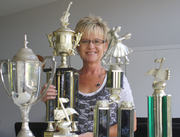 Winning weekend: Blenheim singer Vicki Downes with her awards from the Gourmet Paradise Country Music Awards during the weekend, including the overall winner's trophy