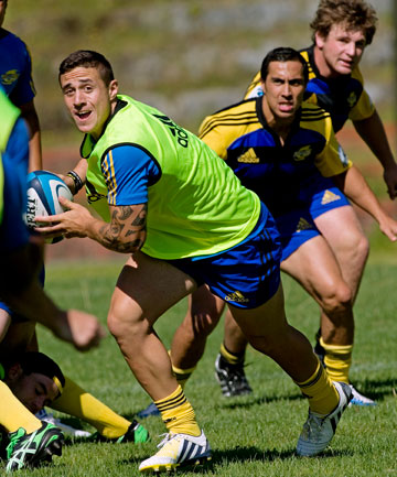 READY FOR 2013: TJ Perenara is ready to pass the ball at Hurricanes preseason training in Newtown.