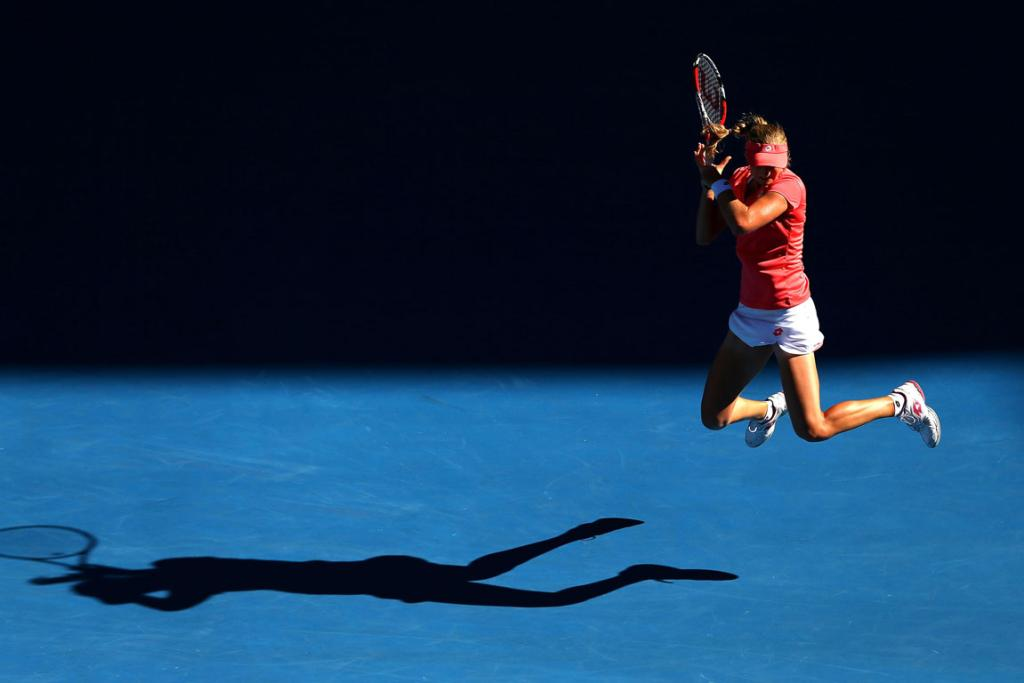 Ekaterina Makarova of Russia plays a backhand in her Quarterfinal match against Maria Sharapova.