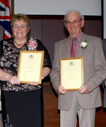 WAIMATE CIVIC AWARDS: From left, Judy Clarke and Fred Wallace.