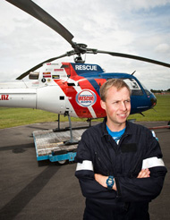Palmerston North Rescue Helicopter's newest recruit Lance Burns.