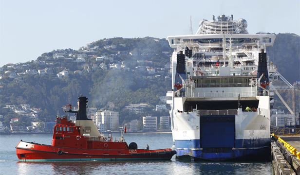 OUT OF ACTION: The Aratere Interislander ferry after it broke down yesterday morning.