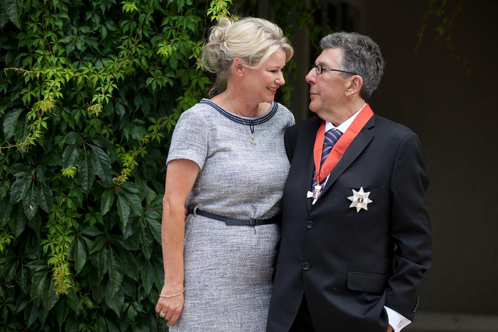 Sir Paul Holmes with Lady Deborah after receiving his knighthood.