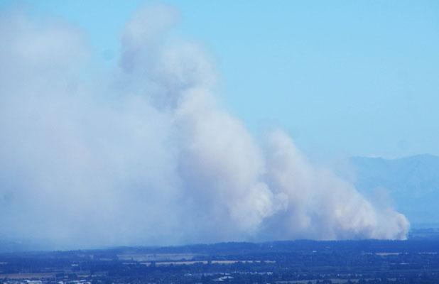 MAJOR BLAZE: Lynley Daniel took this photo from her balcony in Mount Pleasant.