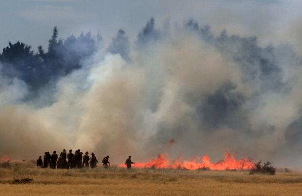 BLAZE: Soldiers attempt to fight the West Melton fire.