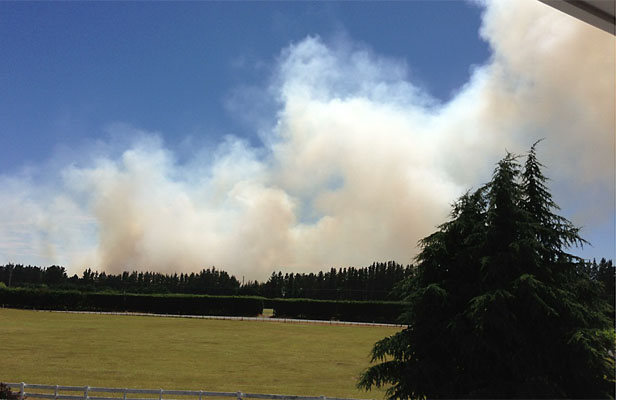 ALARMING: West Melton resident Amy Grant took this image of the fire, which is about 2.5km from her house.