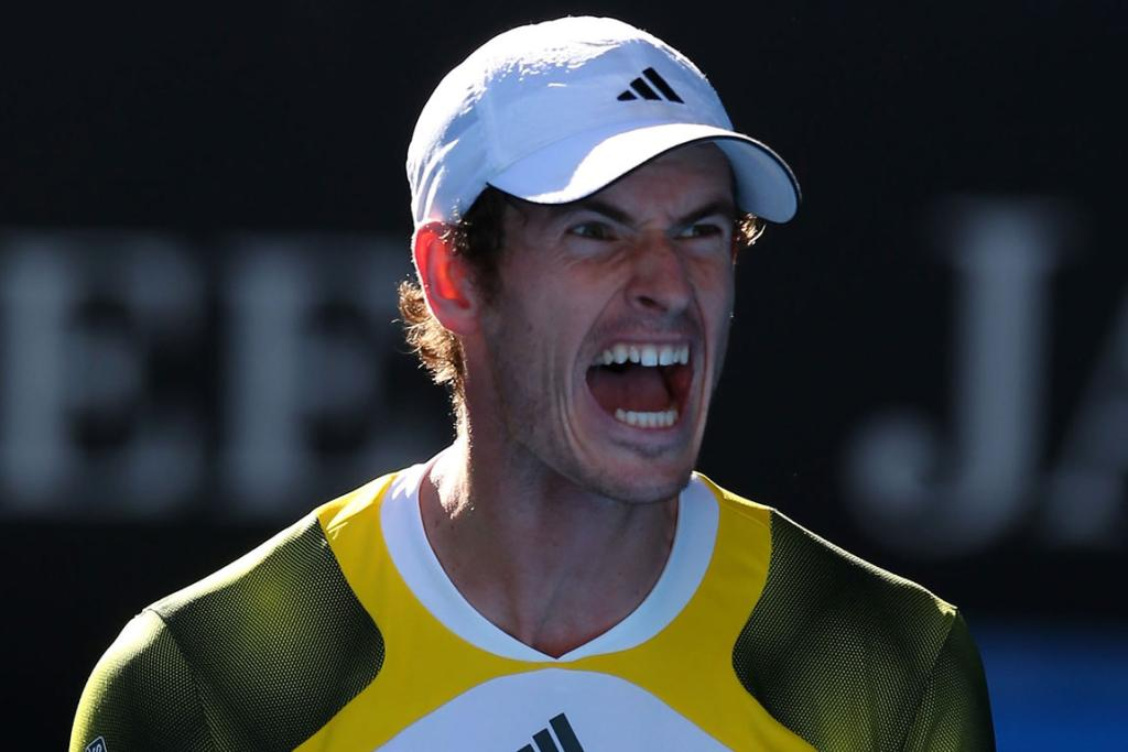 Andy Murray  celebrates his win over Jeremy Chardy.