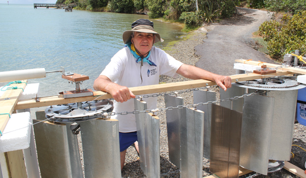 TURBINE TEST: John Service turned a head or two when he tried out his experimental turbine in the Orewa Estuary.