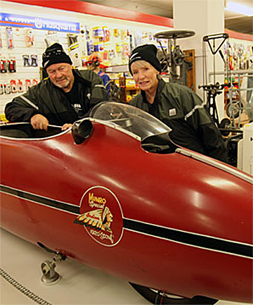 BURT'S BABY: Colleen and Bill Moore, of Katikati, check out Burt Munro's 1920 Indian Scout bike on display at E Hayes & Sons in Invercargill.