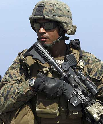A US Marine on patrol in East Timor.