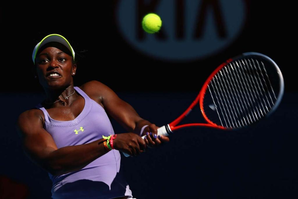 Sloane Stephens of the United States of America plays a backhand in her Semifinal match against Victoria Azarenka of Belarus.