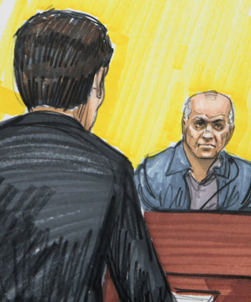 A 2011 file courtroom sketch of David Coleman Headley who has been jailed for 35 years for his role in the 2008 terrorist attacks in Mumbai.