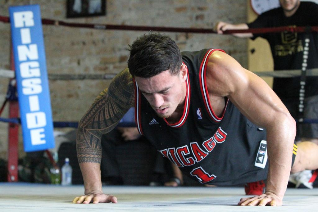 Sonny Bill Williams at a media/sparring session, promoting his fight with South African Francios Botha in Brisbane next month.