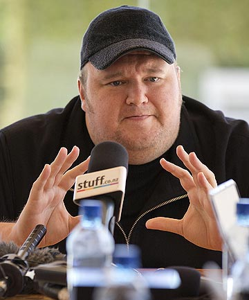 Mega fantasy:  Internet mogul Kim Dotcom holds a preliminary press conference at his mansion in Coatsville, north west of Auckland in the lead up to his new Mega website launch.