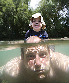 GOOD TIMES: No health problems for Matthew Wallis, 4, and father Ed enjoying the Ashley River.