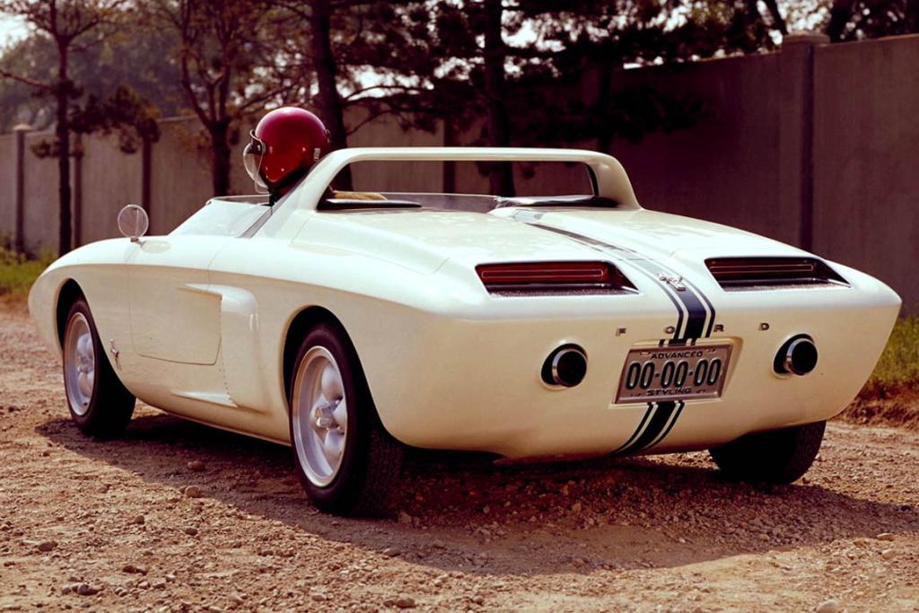 Rear view: All the vents and grilles were functional for this mid-rear engined car.