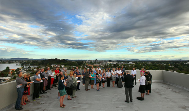 Last goodbye: The ceremoney on top of Waikato Hospital's soon to be demolished Smith Building