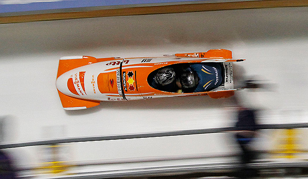LET'S HURTLE: The Aussie team takes part in the Two Man Bobsled World Cup in Utah.