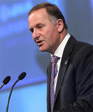 STATE OF THE NATION: John Key delivers his speech at the North Harbour Club in Auckland.