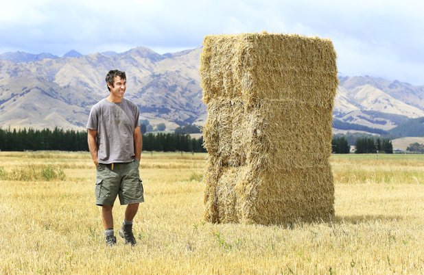 David Brydon of Dave and Phil Big Bale Contracting Ltd is making hay while the sun shines in the Waihopai Valley.
