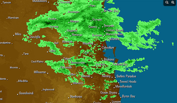 Rain radar from Weatherzone showing the deluge approaching Brisbane this morning.