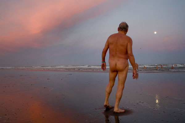 Phil Patterson, one of the 63 naturalists who skinny dipped down a moon beam at South Brighton Beach last night.