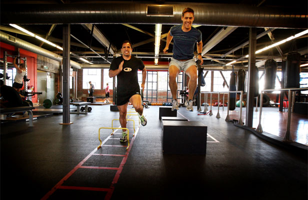 FIVE IN FIVE: William Tokona and Greig Rightford training at Les Mills. The pair are running five marathons in five different cities this week.