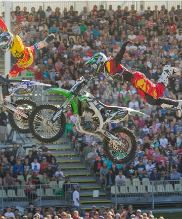 IN FLIGHT: Gabriel Villegas, left, and Brad Burch, flying high during a performance by the Nitro Circus Live.