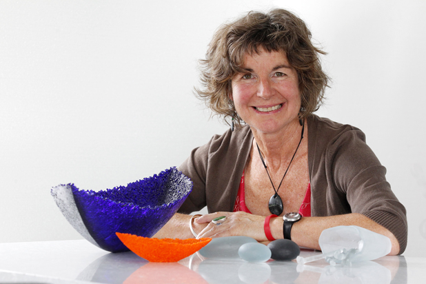 Sue James is a glass and stone sculptor