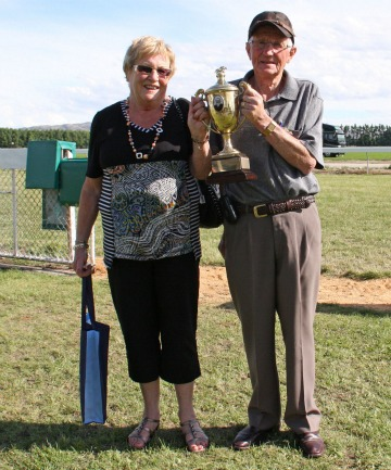OWNER-BREEDERS: Lorraine and Brian Anderton after a Clare Memorial Gold Cup success at Omakau. The Andertons bred Wellington Cup winner Blood Brotha.