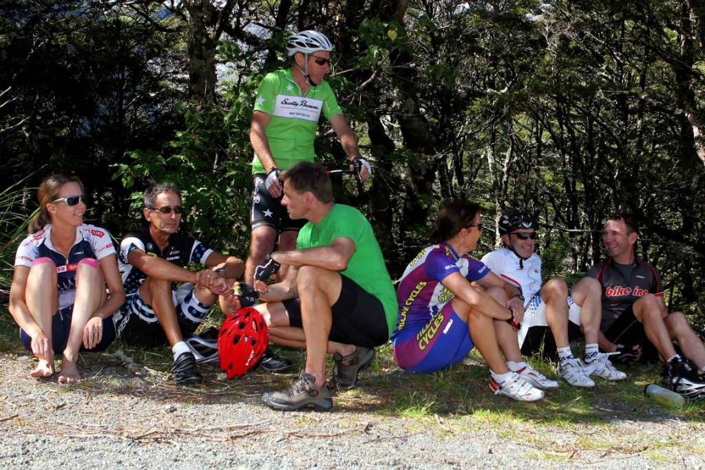 A group of riders relaxing in the shade before the start of the Milford Mountain Classic.