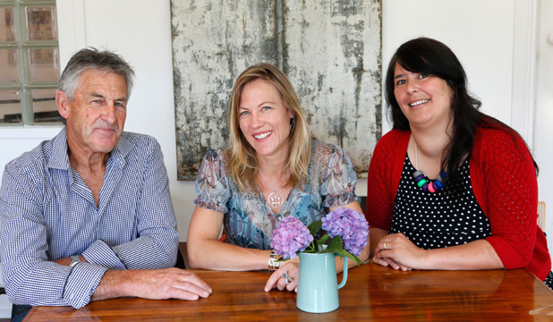 GROUP WITH A MISSION: Purple Cake Day trustees, from left, Roger Sanson, Emily Sanson-Rejouis and Sarah Sharp.