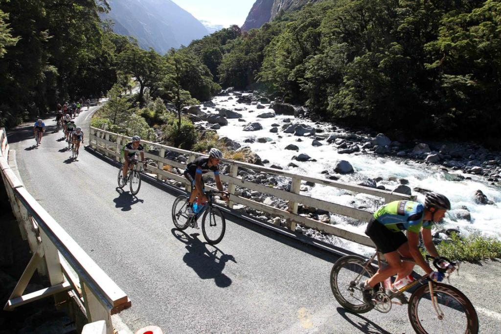 Pictured near the start of the race first riders over the Falls Creek bridge (from right) Glenn McLeay, Vaughan Edie and Mike White (all of Southland).