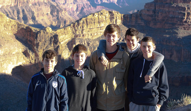 GRAND TOUR: Nelson's Max Winterton, James Peters, Zac Muir,  Sam Wilson  and Matt Tod-Smith at the Grand Canyon.