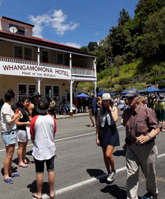 The main road at Whangamomona was packed with revellers during the Republic Day.