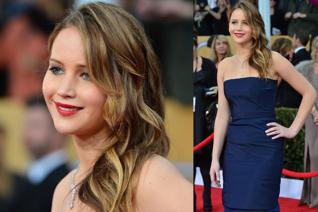 Jennifer Lawrence apparently recovered from a bout of pneumonia to make it to the SAG Awards, wearing Christian Dior Haute Couture. Cinderella, you shall go to the ball!
