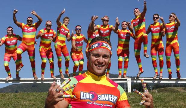 CANDY MEN: Leon Guerin of Nelson with some of his 20 mates who are going to the Sevens dressed as Life Saver lollies. They have renamed themselves ''Love-Savers'' and will be handing out hugs, pashes and packets of sweets.