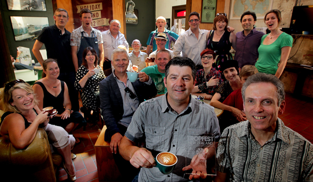 CAFFEINE HIT: Director Dave Smith, centre front,  and Andy Bassett, right,   celebrate with cast and crew of Cappuccino Tango after winning the inaugural short film festival, Tropfest NZ.