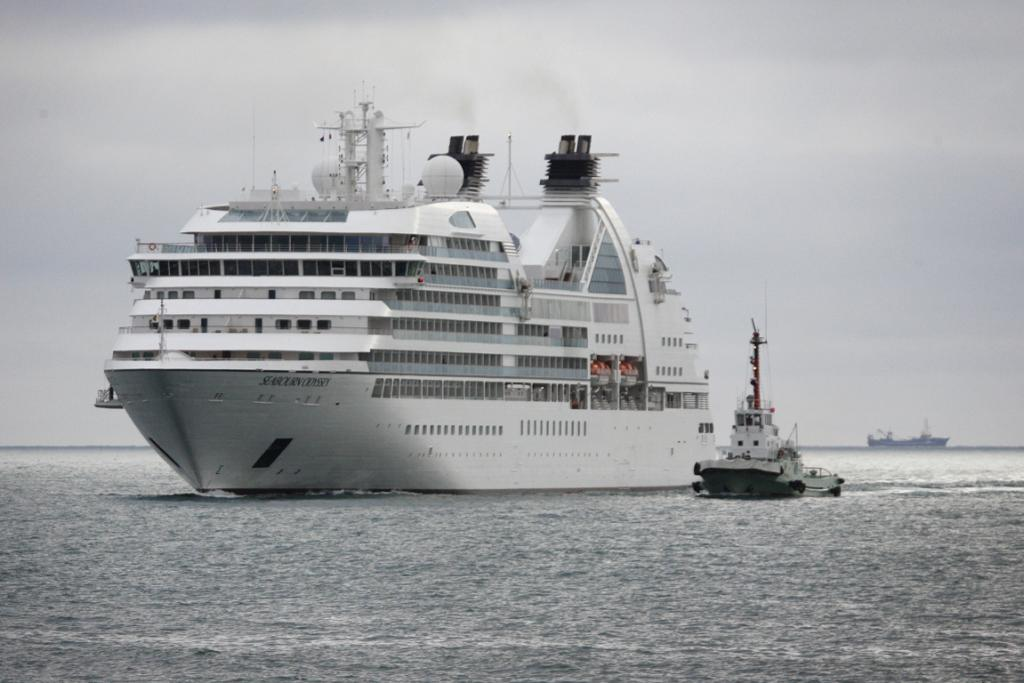 SAILING: The cruise ship, Seabourn Odyssey, arrives in Timaru.