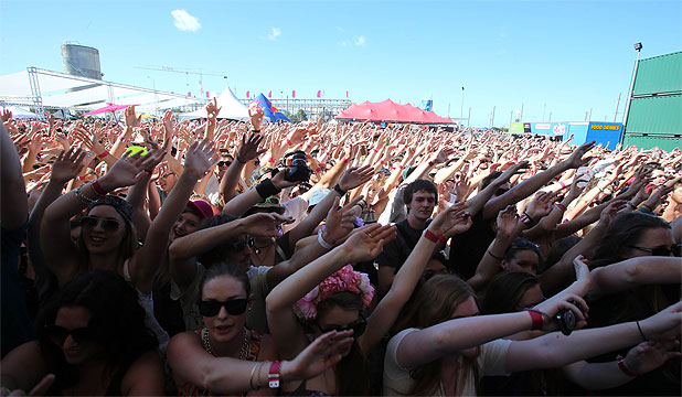 CROWD PLEASER: Fans pack in front of the main stage at St Jerome's Laneway Festival in Auckland.