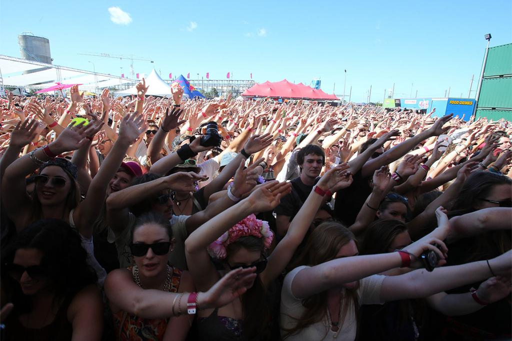 Fans pack in front of the main stage at St Jerome's Laneway Festival in Auckland.
