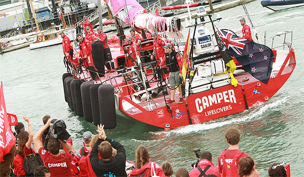 FINISH LINE: Team Camper comes into Auckland's Viaduct harbour during last year's Volvo Ocean Race.