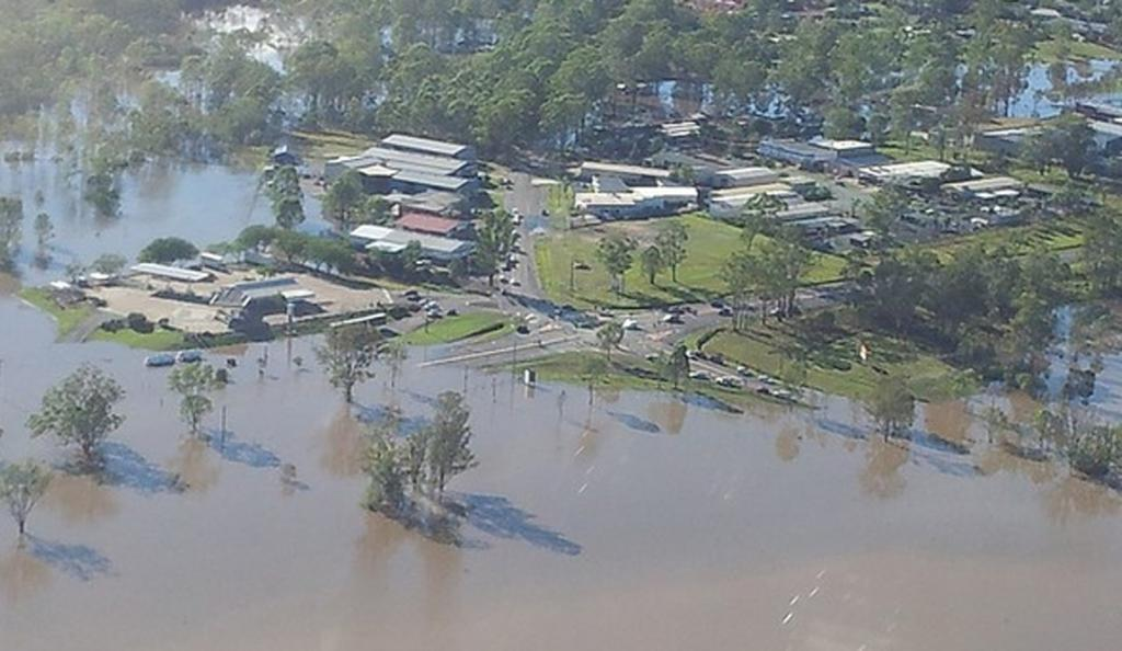 The flooded Mt Lindsay Highway at Jimboomba, Queensland.