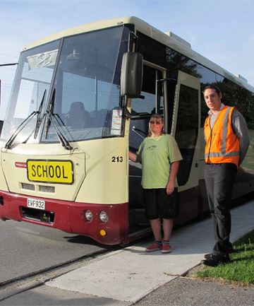 Bus driver Katrina McIntyre and Queenstown Lakes District Council transport safety assistant Daniel McLennan on Fernhill Rd.
