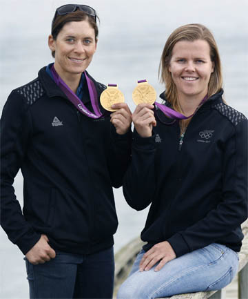 GOLDEN GIRLS: Olympic sailors Jo Aleh, left, and Polly Powrie.
