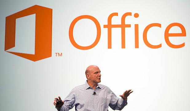CREED THOUGHTS: Microsoft CEO Steve Ballmer the new version of Office in San Francisco, July 2012.