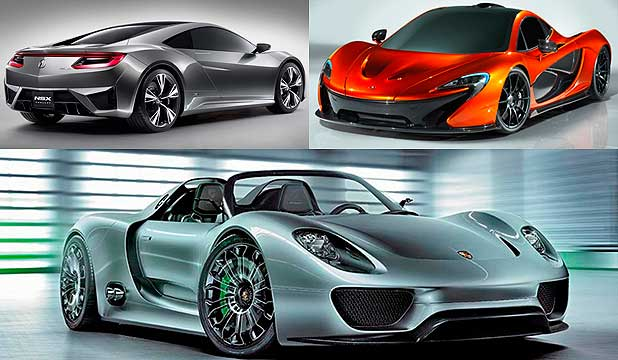 Acura NSX (top left), McLaren P1 (top right) and the Porsche 918 Spyder.