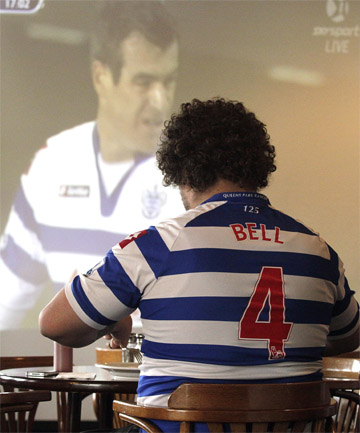 LAST HURRAH: Queens Park Rangers fan Simon Bell tucks into breakfast at Robbie's bar in Riccarton yesterday during Ryan Nelsen's final match for the club.